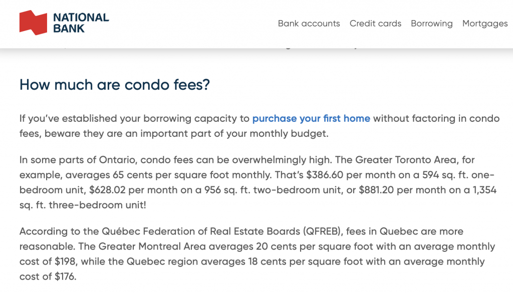 Condo Fees in Greater Toronto are ~ 3 times higher than in Greater Montreal Area
