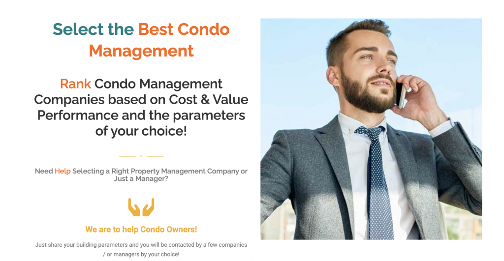 Condo Management Selector page